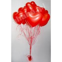 Pęk balonowy serca z helem- duże
