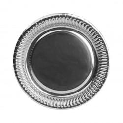 Talerzyki papierowe srebrne, 18cm/8szt.