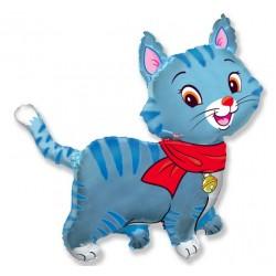 Balon foliowy Piękny kotek niebieski 93x94