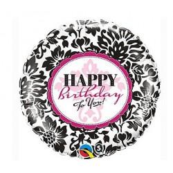 """Balon foliowy Happy Birthday damasceńskie 18"""""""
