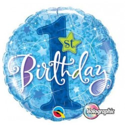"""Balon foliowy 1 urodziny (niebieski) 18"""""""