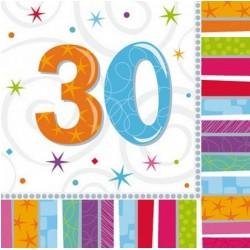 """Serwetki papierowe urodzinowe""""30"""", 20szt"""