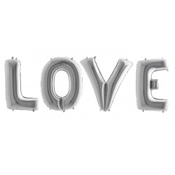 Balony litery LOVE,  srebrne, 100cm