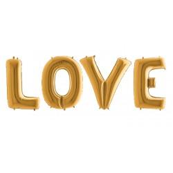 Balony litery LOVE, złote, 100cm