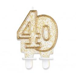 Świeczka cyferka 40, złoty kontur