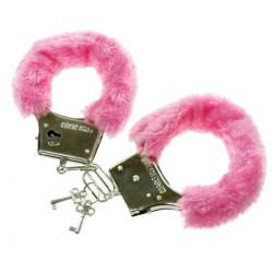 Metalowe kajdanki z futerkiem, różowe