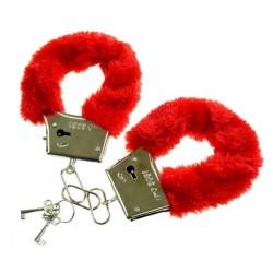 Metalowe kajdanki z futerkiem, czerwone