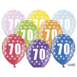Balony 30cm, 70th Birthday, Metallic Mix, 1szt.