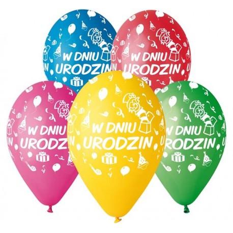 """Balony """"W Dniu Urodzin"""", 12"""" / 5 szt."""
