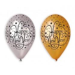 "Balony ""Happy New Year"", złote i srebrne, 12"" / 6 szt."