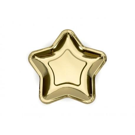 Talerzyki Gwiazdka, złoty, 18cm