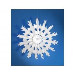 Rozeta bibułowa Śnieżynka, biały 45cm