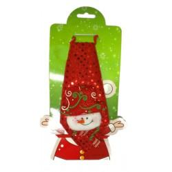 Krawat świąteczny, bałwanek, 18cm