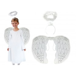Skrzydła, aureola, sukienka Aniołka na 7-8lat