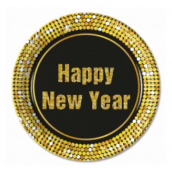 """Talerzyki papierowe """"Happy New Year Retro"""", 23 cm, 8 szt."""