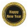 """Talerzyki papierowe """"Happy New Year"""" Retro, 23 /8 szt."""