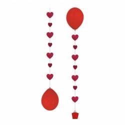 Deracyjna wstążka do balonów wraz obiążnikiem, serca
