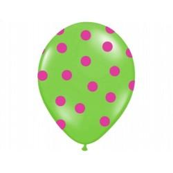 """Balon gumowy 14"""" zielony """"Kropki róż"""", 1szt."""