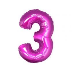Balon foliowy Cyfra 3, różowa, 85cm