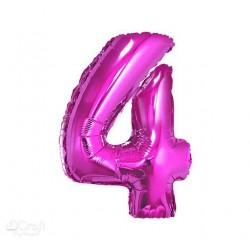 Balon foliowy Cyfra 4, różowa, 85cm