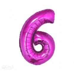 Balon foliowy Cyfra 6, różowa, 85cm