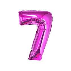 Balon foliowy Cyfra 7, różowa, 85cm