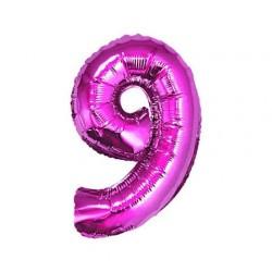 Balon foliowy Cyfra 9, różowa, 85cm