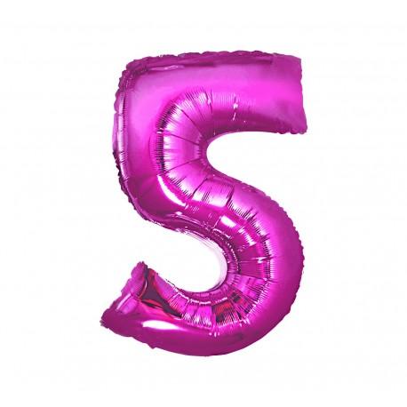 Balon foliowy Cyfra 5, różowa, 85cm
