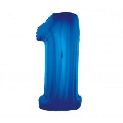 Balon foliowy Cyfra 1, niebieska, 85cm