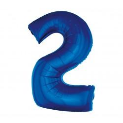 Balon foliowy Cyfra 2, niebieska, 85cm