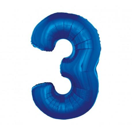 Balon foliowy Cyfra 3, niebieska, 85cm