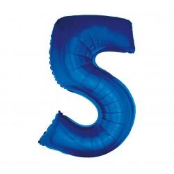 Balon foliowy Cyfra 5, niebieski, 85cm