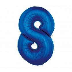 Balon foliowy Cyfra 8, niebieska, 85cm