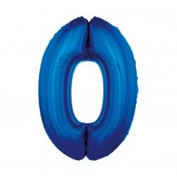Balon foliowy Cyfra 0, niebieska, 85cm