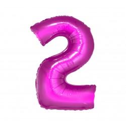 Balon foliowy Cyfra 2, różowa, 85cm