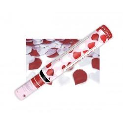 Tuba strzelająca białe serca i czerwone płatki róż