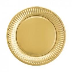 Talerzyki papierowe złote, 18cm/6szt.
