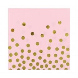 """Serwetki papierowe """"Złote groszki"""", różowe"""