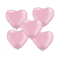 "Balon gumowy 10"" serce, różowy, 5szt"