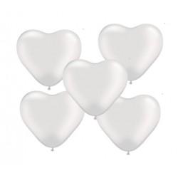 "Balon gumowy 10"" serca, biały, 5szt"