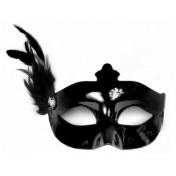 Maska czarna z czarnym piórem