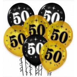 Balony 50, złote i czarne, 10szt