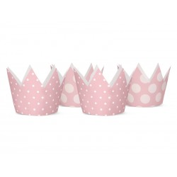Korony w kropki różowe 4szt