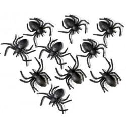 czarne pająki- 12 szt.