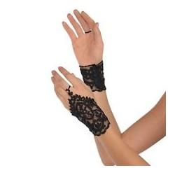 Czarne koronkowe rękawiczki
