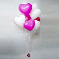 Pęk balonowy serca z helem - standard