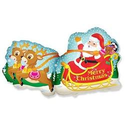 Balon foliowy 52cm x 95cm - Mikołaj w saniach