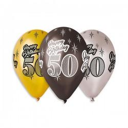 Balony 50, złoto-czarno-srebrne, 6szt, 12''
