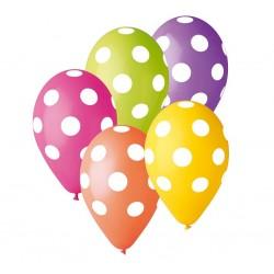 """Balony gumowe 12"""", Grochy kolorowe, 5szt"""