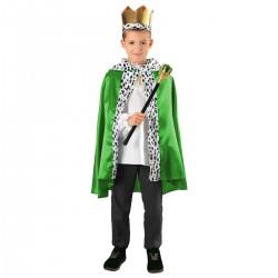Zestaw Król Zielony: Peleryna, korona, berło